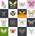 large set of logos butterflies vector image