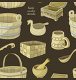 rustic wooden utensils pattern vector image
