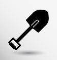 Silhouette shovel to work in the garden button vector image