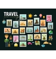 Travel journey Icons set Postage stamps vector image
