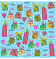 gifts on a blue background vector image vector image