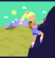 young woman with backback climbing on the rock vector image