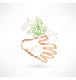 Plant and hand grunge icon vector image vector image