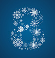 Number 8 font frosty snowflakes vector image