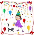 Girl and cat celebration balloons bows vector image