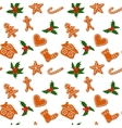 Christmas gingerbread cookies and holly seamless vector image