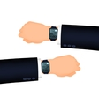 Mans hand right and left with smart watch vector image