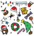 Christmas doodle set vector image
