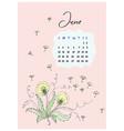doodle dandelion leaves june 2018 vector image