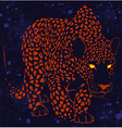 leopard wild cat with glowing eyes sneaks night vector image