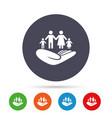 family insurance sign hand holds human group vector image