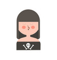 gothic girl with dark hair and skull on shirt vector image