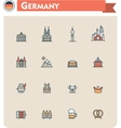 Germany travel icon set vector image