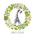 Spring in ParisGreen Leaves wreath Eiffel tower vector image