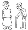 simple black and white grandparents vector image