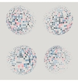 Collection of halftone sphere logo template vector image