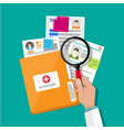 folder and patient card hand magnifying glass vector image