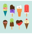 Ice cream flat cute icons vector image