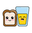 kawaii happy halved bread and juice glass vector image