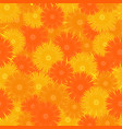 seamless orange floral pattern vector image