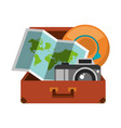 suitcase with folded map camera and hat inside vector image