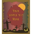 Halloween poster with scarecrow and pumpkins vector image