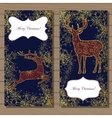 Merry Christmas cards with golden deer and vector image vector image
