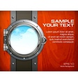 Porthole seascape on wooden vector image vector image