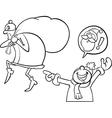 santa mistake cartoon coloring page vector image