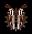 Two steampunk revolvers vector image vector image