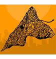 leaf tracery against the background of an orange vector image