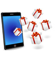 smart phone with white gift boxes vector image vector image