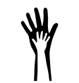 small and big hands vector image vector image