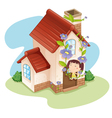 Girl and house vector image