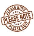 Please note brown grunge stamp vector image