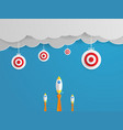 rocket launch to target on cloud vector image