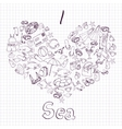 sea card with heart vector image
