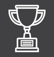 trophy cup line icon winner and award vector image