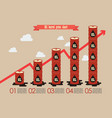 oil barrel with graph up infographic vector image vector image