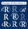 Design of the letter r calligraphic elegant line vector image