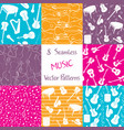 collection of music seamless patterns vector image vector image