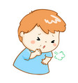 coughing boy cartoon vector image