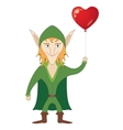 Elf with heart balloon vector image