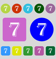 number seven icon sign 12 colored buttons Flat vector image