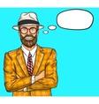 Confident pop art hipster man vector image