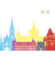 Graz skyline pop vector image