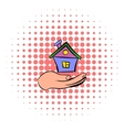 House in hand icon comics style vector image