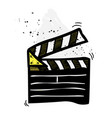movie clapper cartoon hand drawn image vector image