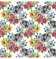 Seamless pattern with tigers yellow sunflowers vector image