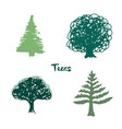 trees green silhouette inked hand drawn isolated vector image